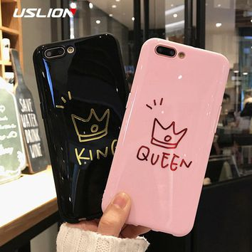 USLION Glossy Crown Phone Case For iPhone 6 6s Plus Letter KING Back Cover Love Heart Soft TPU Cases For iPhone X 8 7 6S Plus