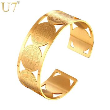 U7 Big Bangle Saint Benedict Medal Cuff Bracelet For Men Gold Color Stainless Steel Catholicism Cross Jewelry 2017 New H1006