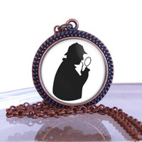 Sherlock Holmes  Pendant Necklace, Mystery Writers Gift Idea