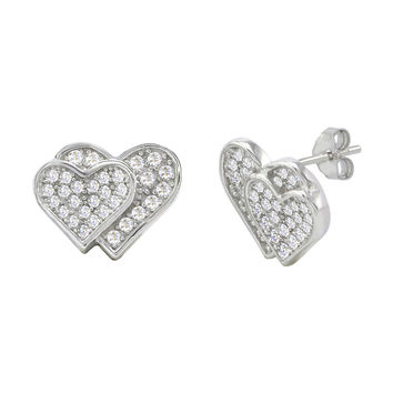 Double Heart Earrings Sterling Silver Micropave CZ Cubic Zirconia 11mm x 14mm