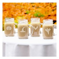 Cathy's Concepts 'Trick Or Treat' Mason Jar Glasses - White (Set of 4)