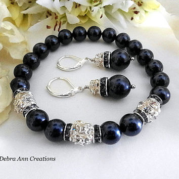 Swarovski Navy Pearl Bracelet and Earring Set Navy Blue Wedding Bridal Navy Pearl Jewelry Mother of Bride Groom Gift Bridesmaid Bracelet Set