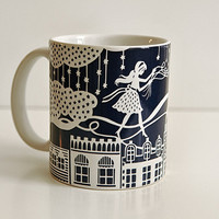 Rooftop Balloons Mug - Papercut Illustration - 11 oz white and navy blue