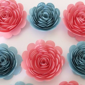 "Baby Shower Decor, Pink and Blue Roses Set of 6, Trending Color for the year 2016, 3"" blooms, nursery wall decorations Bridal Party gift"