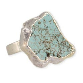 Silver Turquoise Nugget Slice Ring