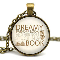 Beauty and the Beast Necklace - Dreamy far off look, and her nose stuck in a book - Belle Necklace - Disney neckace - Disney jewelry #2