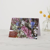 Happy Birthday, Vintage Flowers, Personalized Card