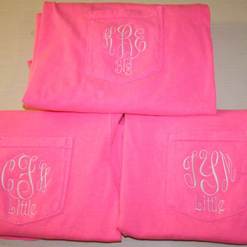 Monogrammed Comfort Color Pocket Tees with by TheInitialedLife