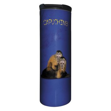 Capuchins Monkey Barista Tumbler Travel Mug - 17 Ounce, Spill Resistant, Stainless Steel & Vacuum Insulated