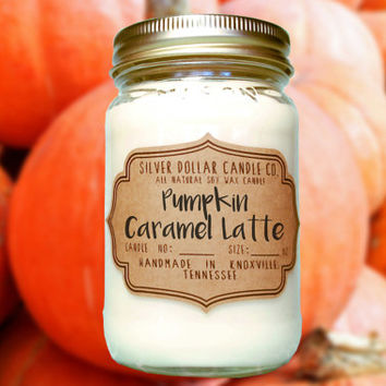 Pumpkin Caramel Latte 16oz Scented Candle | Fall scents, Mason Jar Candle, Pumpkin Latte, Winter scent, Thanksgiving gift, Caramel Latte