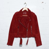 Blank NYC Suede Moto Jacket - Red My Mind