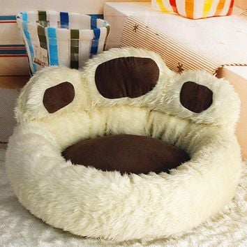 NICE Coffee / Pink Color Super Luxury Dog Bed Kennel Cozy Soft Warm Pet Puppy Cat Dog House Nest Bear Footprint  50cm M Size