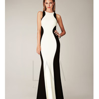 White & Black Two Tone Open Back Dress