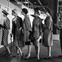 5 Models Wearing Fashionable Dress Suits at a Race Track Betting Window, at Roosevelt Raceway Photographic Print by Nina Leen at eu.art.com