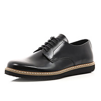 River Island MensBlack leather chunky sole formal shoes