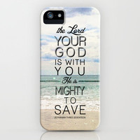 "Zephaniah 3:17 ""...He is mighty to save"" iPhone Case by Pocket Fuel"