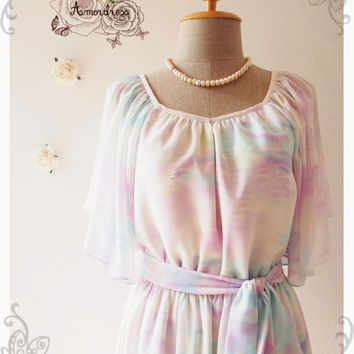 Over the Rainbow : Holiday Pastel Purple Dress Butterfly Sleeve Party Dress Hippie Cocktail Dress Swing  Bridesmaid Dress No.4 - Size S-M