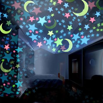 100PC 3D Stars Glow In The Dark Wall Stickers Luminous Fluorescent Wall Stickers For Kids Baby Room Bedroom Ceiling Home Decor