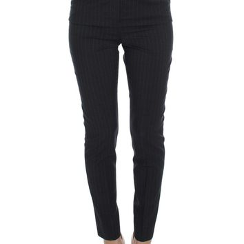 Gray Striped Wool High Waist Slim Pants