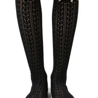 Black Hollow Studded Thigh High Socks