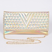 Quilted Iridescent Formal Envelope Clutch