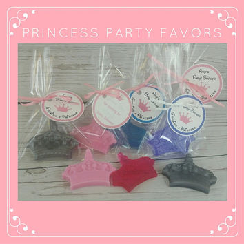 Princess Crown Birthday, Baby Shower Soap Party Favors also for Diaper Party or Baby Sprinkle, Custom Color & Scent | Pack of 10