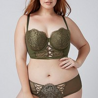 Lightly Lined Longline Balconette Bra with Eyelash Lace | Lane Bryant