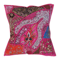 Pink Antique Beaded Patchwork Indian Embroidered Throw Pillow Case Sham