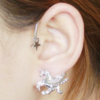 Silver Star and Pegasus Ear Cuff