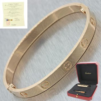 Unworn 2016 Cartier Love 18k Rose Gold Screw Bangle Bracelet Box Papers 17