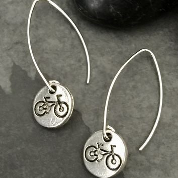 Small Silver Bicycle Earrings / Bicycle Jewelry, Bike Jewelry, Bike Earrings, Cyclist Earrings, Bicycle Gifts for Women, Biker, French Wire