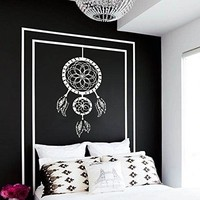 Wall Decal Vinyl Sticker Decals Art Home Decor Murals Dreamcatcher Dream Catcher Feathers Symbol Decoration Bedroom Dorm Decals AN29