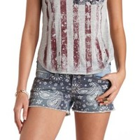 Bandana Print Cut-Off Denim Shorts - Med Wash Denim