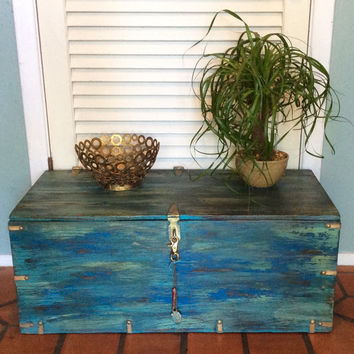 Vintage Blue Trunk Coffee Table
