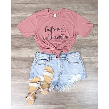 Distracted - Caffeine and Quarantine Funny Graphic Tee in Pink
