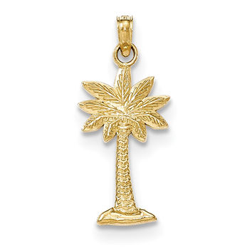 14K Gold Polished and Textured 2-D Palmetto Palm Tree Pendant K5383