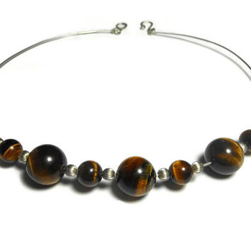 Tiger's eye necklace, handmade sterling silver wire, tiger's eye beads with sterling beads and handmade clasp and jump rings, stamped 925