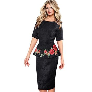 Womens Dresses Elegant Vintage Vestidos Fabric Peplum Casual Party Mother of Bride Evening Bodycon Floral Embroidery Dress 266