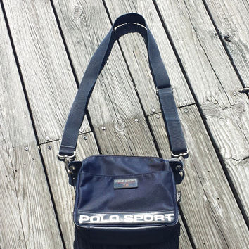 Vtg - Ralph Lauren Polo Sport Bag - Navy Blue - Cross Body Bag