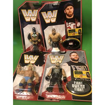 Mattel Retro WWE Figures Set of 4 Finn Balor, Ric Flair, Sami Zayn Kevin Owens