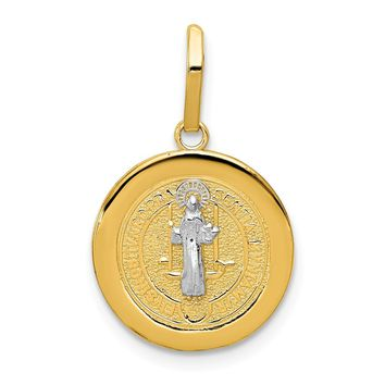 14K Rhodium Plated Yellow Gold With Rhodium Circle St. Benedict Medal Pendant