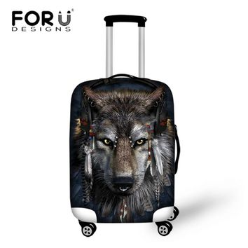 FORUDESIGNS Travel On Road Luggage Cover Protective Suitcase Cover Elastic Cloth Dust Protector Wolf for 18-30 Inch Trolley Case