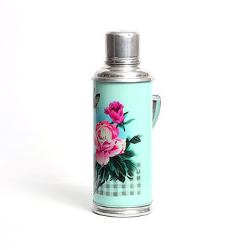 Vintage aluminum thermos with flowers, Vintage travel thermos, Kitchen decoration, Shabby chic decor