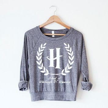 The Hogwarts Collegiate Pullover - A Women's American Apparel Tri-Blend Pullover with a Harry Potter inspired design