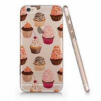 Cute Sweet Food Cup Cake Pattern Clear Transparent Plastic Phone Case for iphone Apple Phone SUPERTRAMPshop (iphone 6)