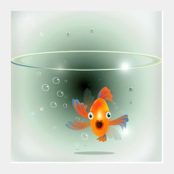 fish in bowl Square Art Prints | Artist : abhijeet sinha