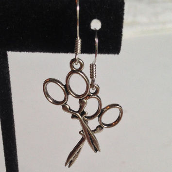 Scissor Earrings, Sewing Jewelry, Dangle Charm, Pewter Color, Crafty Style
