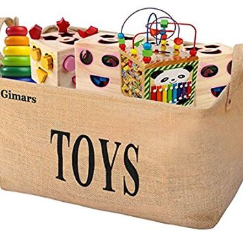 "Gimars XL 20"" Jute Storage Basket Bin Chest Organizer - Perfect for Organizing Toy Storage, Baby Toys, Kids Toys, Dog Toys, Baby Clothing, Children Books, Gift Baskets"