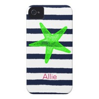Nautical Starfish with Summer Navy Blue Stripes iPhone 4 Covers from Zazzle.com