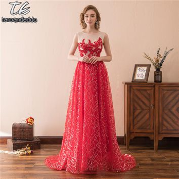 Scoop Sleeveless Red Sequin A-line Bling Bling Prom Dress with Crystals Evening Gowns vestidos de fiesta cortos elegantes 2018